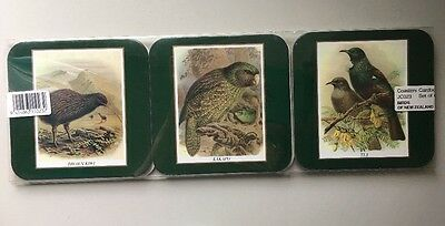 Set of 6 Colorful Birds of New Zealand Souvenir Coasters ~ New!