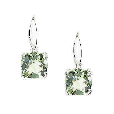 Genuine Natural Green Amethyst 925 Solid Sterling Silver French Hook Earrings