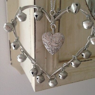 Shabby Chic Silver Metal Hanging Glittery Heart with Silver Bells