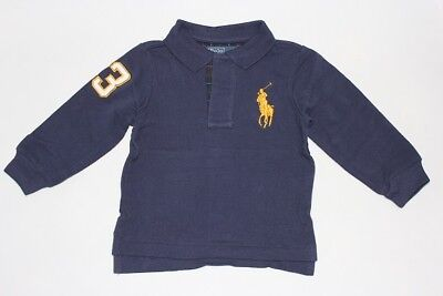 Brand New Authentic Ralph Lauren Baby Boys Big Pony Long Sleeve Shirts Size 12M