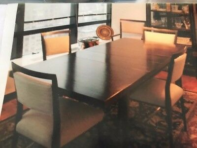 Mahogany dining table and chairs. Paul McCobb modern dining table.