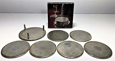 Vintage Silver Plated 7 Piece Coaster Set With Storage Caddy / Bottle Coaster