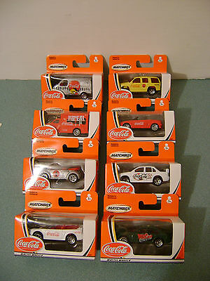 Coca Cola Matchbox Cars Complete Set of 8 Tahoe Beetle Mustang Falcon MGF + 2002