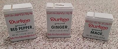 Lot of 3 Vintage Spice Tins - Durkee Ground RED PEPPER, GINGER & MACE !!!