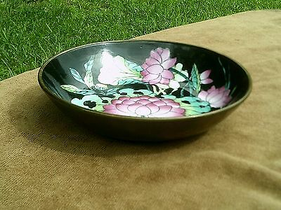 Vintage Chinese Hand Painted Bowl / Dish Brass Covered Flower Design Hanging