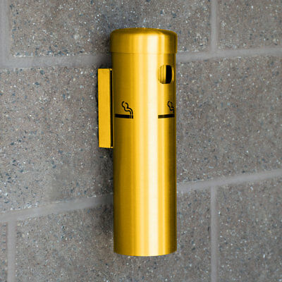 """12"""" x 3"""" Aluminum Gold Wall Mounted Round Cigarette / Ashtray Receptacle"""