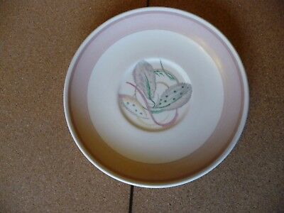 1930's Vintage Susie Cooper soup coupe stand in Grey Leaf pattern with pink band