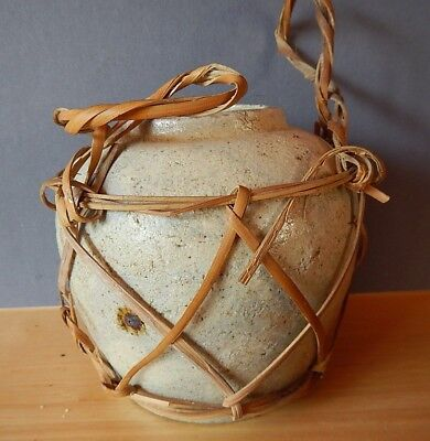 """pottery ginger jar with original wicker handles; 4"""" tall; marked China; tan; no"""