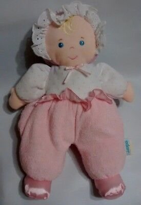 Eden Baby Doll Plush Lovey Toy Rattle Pink White Terry Cloth Polka Dot 12""