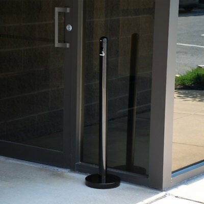 "40"" Black Matte Stainless Steel Outside Smoker Pole and Base Ashtray Receptacle"