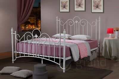 Virginia Double Metal Bed Frame White Victorian Style King Size Classic Bedstead