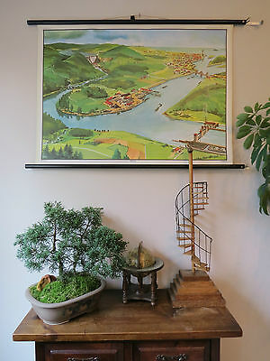 Wonderful Vintage Pull Roll Down School  Wall Chart Mural Of A River  1965