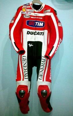 Ducati Men Motorbike Racing Suit In Cow Hide Leather Red & White In All Sizes