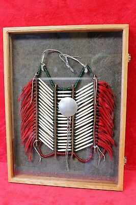 Authentic Native American Northern Plains Sioux Hairpipe Bone Breast Plate w/ Si