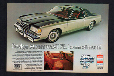 1979 DODGE Magnum XE Vintage Original Print AD - Silver car photo coupe 2-door