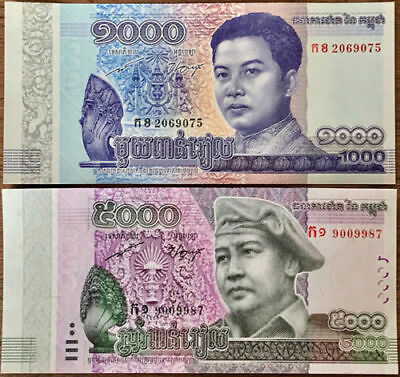 *Newly Released 25-10-17* 2 x UNC Each Cambodia Cambodge Khmer 1000 5000 Riel