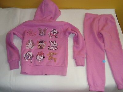 NEW Girls Super Soft Butter Hoodie Sweat Pants Set Outfit Dog Bling Pink XS 3/4