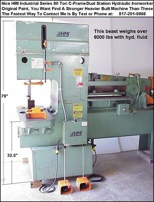 HMI 80 Ton Hydraulic Ironworker Punch Press, Stronger Than a Piranha Ironworker