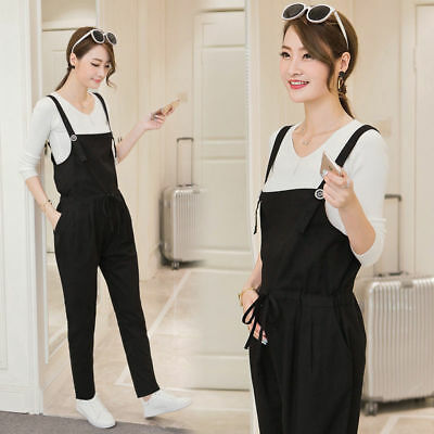Maternity Cotton Linen Casual Loose Harem Romper Jumpsuit Overall Trousers Pants