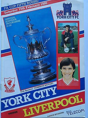 York City v Liverpool 1985/86 FA Cup 5th Round