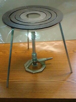 "Lab Bunsen Burner and Tripod Cast Iron Stand Kit  9"" Height"
