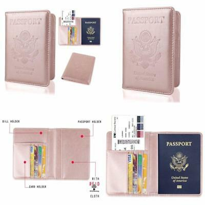 USA Leather Passport Cover Holder RFID Blocking Ladies Modern Travel ROSE GOLD