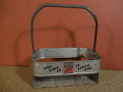 Vintage 7 UP Soda Embossed Metal 6 Pack Bottle Carrier YOU LIKE IT IT LIKES YOU