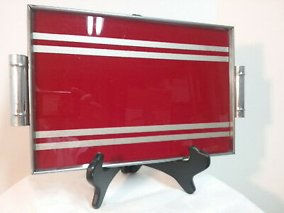 Red Deco Tray with Chrome Rim