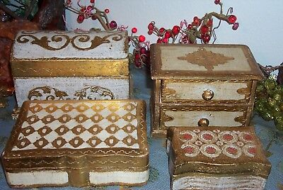 Vintage FLORENTINE GILT Italian Wood Toleware DOMED Chest Jewelry Box Lot of 4