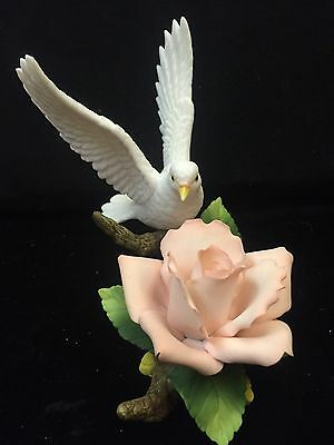 Andrea by Sadek White Dove with Pink Rose Decorative Bird Collection Figurine