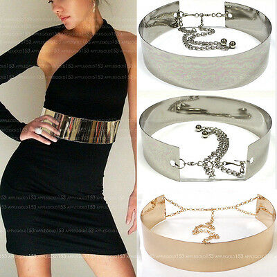 Women Wide Gold Full Metallic Bling Mirror Plate Waist Metal Chain Belt Obi S~XL