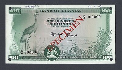 Uganda 100 Shillings ND(1966) P5s Specimen Uncirculated