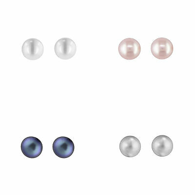Genuine 8mm Freshwater Pearl 925 Sterling Silver AAA Button Studs - 4 Colours