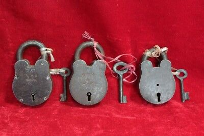 Vintage Old Set of 3 Iron Lock and Keys Home Decor Security Collectible PW-86