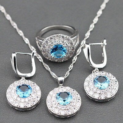 Beautiful round BLUE SAPPHIRE and TOPAZ 925 Silver Necklace Earrings Ring Set