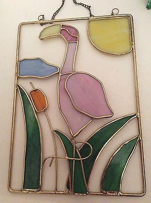BEAUTIFUL PINK FLAMINGO STAINED GLASS SUN-CATCHER WINDOW HANGING Hand Crafted
