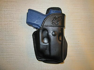 Kahr Pm9,cm9 With Ct Laser, Paddle Holster,formed Leather Owb Holster Right Hand