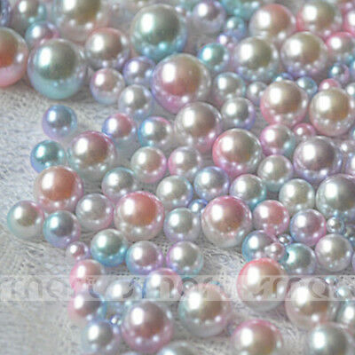100pcs Pink Resin Round Imitation Pearl Loose Beads No Hole 3 4 5 6 8 10mm