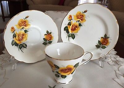Vintage Royal Sutherland Staffordshire England Fine Bone China Trio C1950-1969