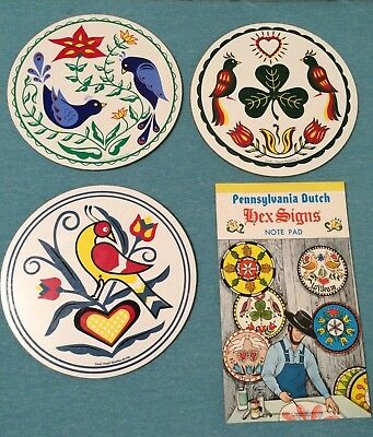 "3 NOS~JACOB ZOOK Pennsylvania Dutch Hex Signs 1996 7.5"" + Hex Signs Note Pad~USA"