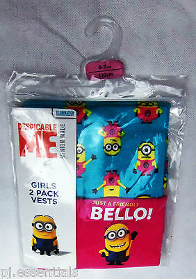 Minions Despicable Me Girls Vests 2 pack BNIP Primark