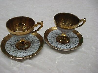 PAIR of GOLD WASHED Round Footed gilded TEA CUP & SAUCER Japan Porcelain TR9
