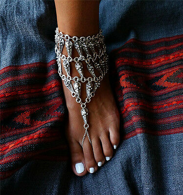 1pc Vintage Silver Foot Jewelry Sandals Beach Alloy Water Drop Barefoot Chain