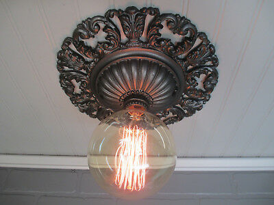 Rare Huge 1920's Antique Art Deco Flush Mount Ceiling Light Fixture Art Nouveau