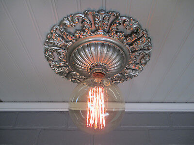 Vintage Antique Art Deco Flush Mount Ceiling Light Fixture Art Nouveau 11 3/8""
