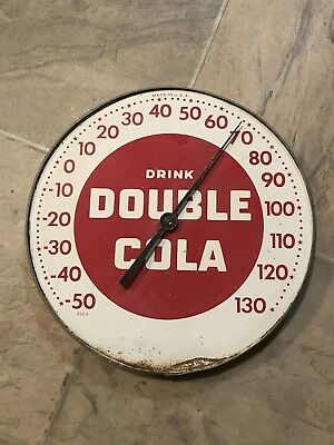 Vintage Drink Double Cola Round Advertising Thermometer Works