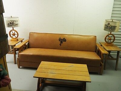 50s Wagon Wheel Cowboy Furniture set: Sofa, Rocker, 3 Tables, 2 RARE LAMPS horse