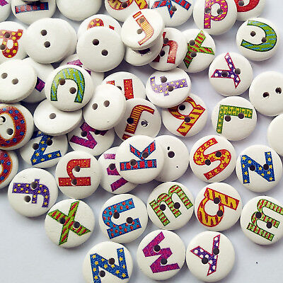 Mix Lots Letter/Alphabet Wood Button Sewing Diy Craft Embelishment Supply