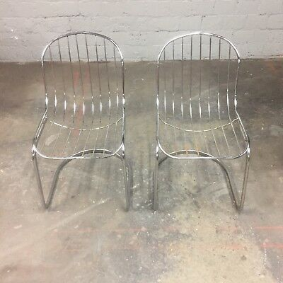Mid Century Modern Italian Chrome Cidue Cantilever Chairs Pair Vintage Retro