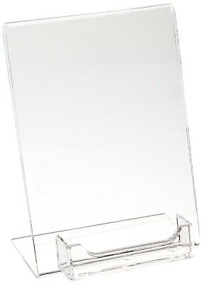 "5 x Displays2go Clear Acrylic 5""x7"" Sign Holder w/ Business Card Pocket,Tabletop"